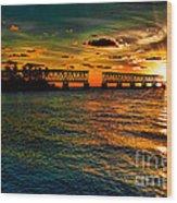 Sunset Bridge Wood Print