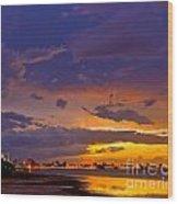 Sunset By Causeway Bridge Wood Print
