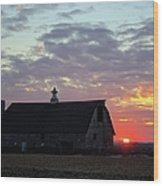 Sunset By The Barn 2 Wood Print