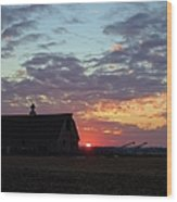 Sunset By The Barn Wood Print