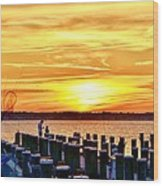 Sunset By The Dock Wood Print