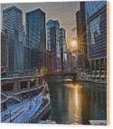 Sunset Chicago Wood Print