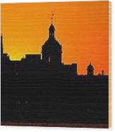 Sunset City Semi-silhouette Wood Print by Paul Wash
