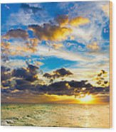 Sunset Cloudscape Silver Lining-gold Blue Pensacola Sky Wood Print
