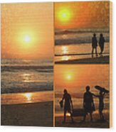 Sunset Collage Wood Print by Kip Krause
