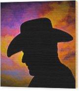 Sunset Cowboy Wood Print