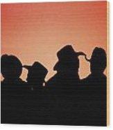 Sunset Cowboys Wood Print