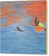 Sunset Cranes Wood Print