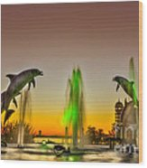 Sunset Dolphins Wood Print