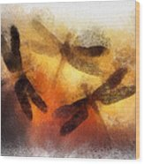 Sunset Dragonflies Wood Print
