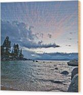 Sunset Drama At Tahoe Wood Print