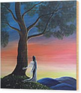 Sunset Fairy By Shawna Erback Wood Print