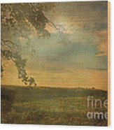 Sunset Farmland Wood Print