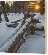 Sunset Fence Wood Print