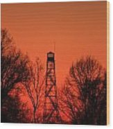 Sunset Fire Tower In Oconee County Wood Print