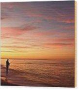 Sunset Fishing 2  Wood Print