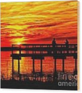 Sunset Fishing At The Pier Wood Print