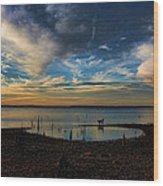 Sunset Fishing  Hot Dogggg Wood Print