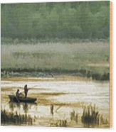 Sunset Fishing On The Volga Wood Print