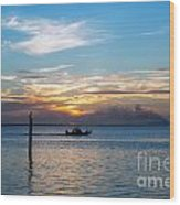 Sunset Fishing Wood Print by Tammy Smith