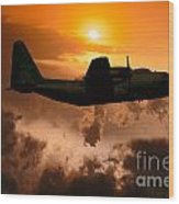 Sunset Flight C-130 Wood Print by Wernher Krutein