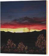 Sunset Forest Blue Wood Print