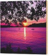 Sunset From Point Fosdick Gig Harbor Washington Wood Print