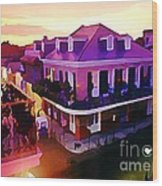 Sunset From The Balcony In The French Quarter Of New Orleans Wood Print