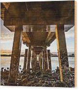 Sunset From Under The Pier Wood Print