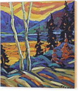 Sunset Geo Landscape Original Oil Painting By Prankearts Wood Print