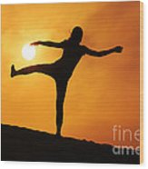 Sunset Girl Silhouette  Wood Print
