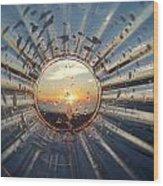 Adelaide Beach Sunset Glass Wood Print