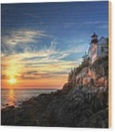 Sunset Glow At Bass Harbor Wood Print