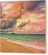 Sunset Glow At Waimanalo Wood Print