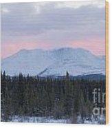 Sunset Glow Behind Winterly Little Peak Yt Canada Wood Print