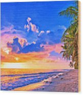 Sunset Glow On The Kona Coast Wood Print