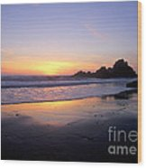 Sunset Gold Big Sur Wood Print