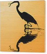 Sunset. Great Blue Heron. Wood Print