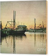 Sunset Harbor Glow Wood Print
