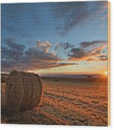 Sunset Hay Wood Print