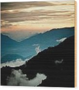 Sunset Himalayas Mountain Nepal Panaramic View Wood Print
