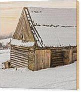 Sunset Hut Wood Print