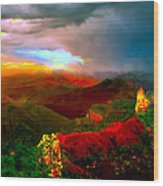 Sunset Imperial Peak North Grand Canyon Panorama Wood Print
