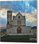 Sunset In Assisi Wood Print