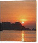 Sunset In Bai Tu Long Wood Print