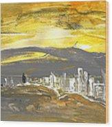 Sunset In Benidorm Wood Print