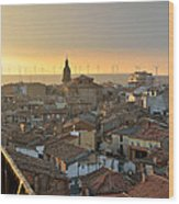 Sunset In Calahorra From The Bell Tower Of Saint Andrew Church Wood Print