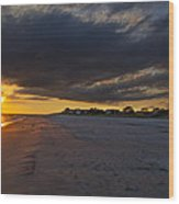 Sunset In Cape May Along The Beach Wood Print