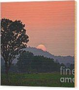 Sunset In Countryside Wood Print
