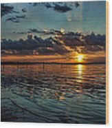 Sunset In Cyan Wood Print